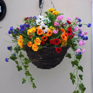 "12""Round Wicker Artifical Flower Hanging Basket -Colourful wildflower and/ Ivy"